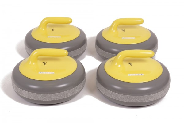 FUNNY CURL 4er-Set - Curling-Gaudi Event- und Gastroset gelb