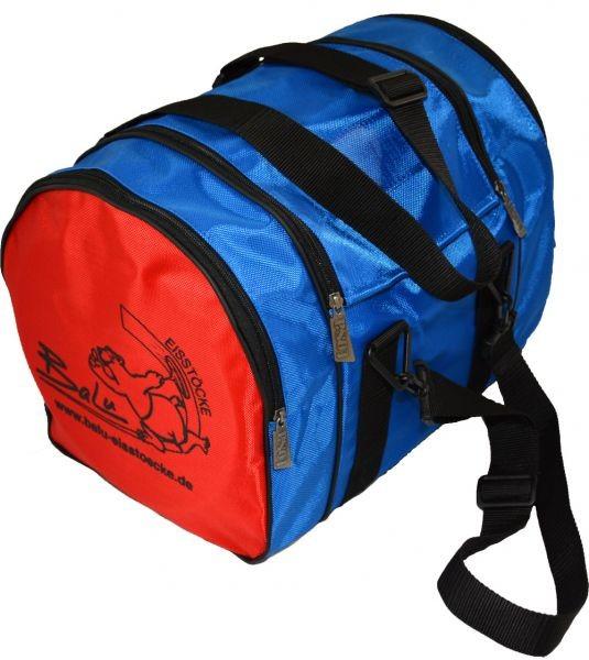 BaLu kleine Eisstocktasche mit Holzeinsatz blau rot