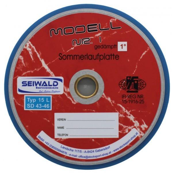 eisstock24 SEIWALD Modell 1 spezial verschraubt / Langsame Mass und Stockplatte Somerlaufsohle Schussplatte blau